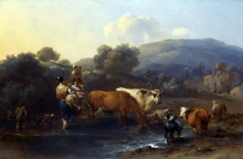 212/berchem, nicolaes - peasants with cattle fording a stream